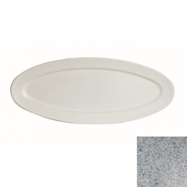 Fischplatte, oval grau - 1,5 L - 27,5 x 68 x 2,5 cm