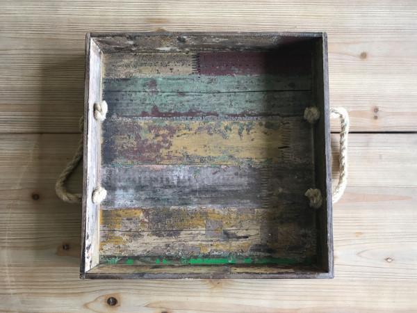 Serviertablett Holz 'Vintage' quadratisch - 39,4 x 39,4 x 8