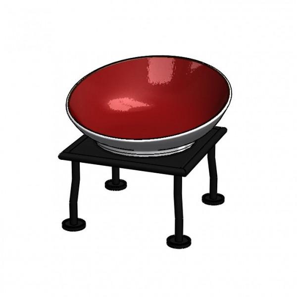 RAISER 'Buffetschale 23x23' rot 2,0 l - L-Standfuß 'Black