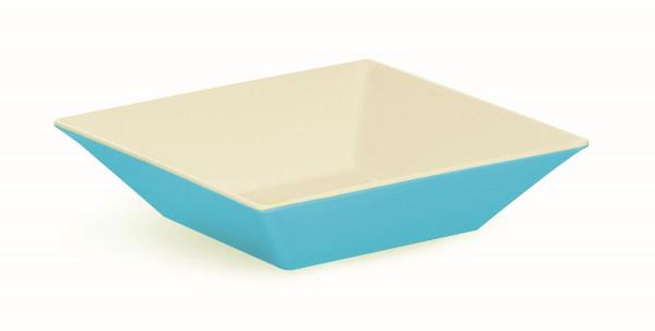 Melamin Schale, quadratisch weiß & blau - 2,4 l