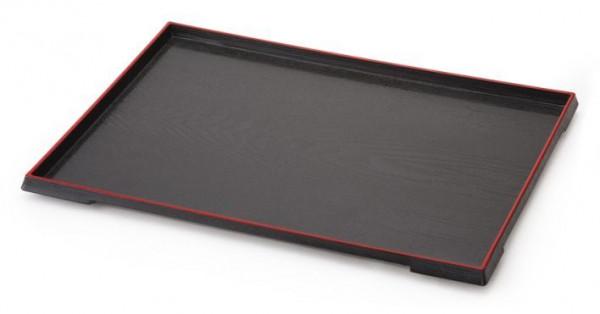 ABS Tablett, rechteckig Rot/Schwarz - 38,1 x 29,2 cm