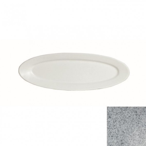 Fischplatte, oval grau - 1,0 L - 20,5 x 60 x 3 cm