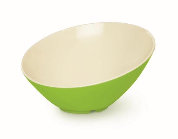 Melamin Schale kaskadenförmig weiß & grün - 1,8 l