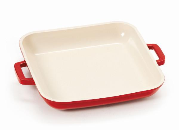 Mini Grillpfanne, mit Griffen rot & innen weiß - 296 ml