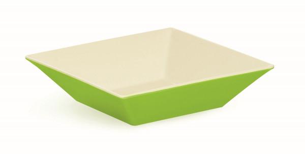Melamin Schale, quadratisch weiß & grün - 2,4 l