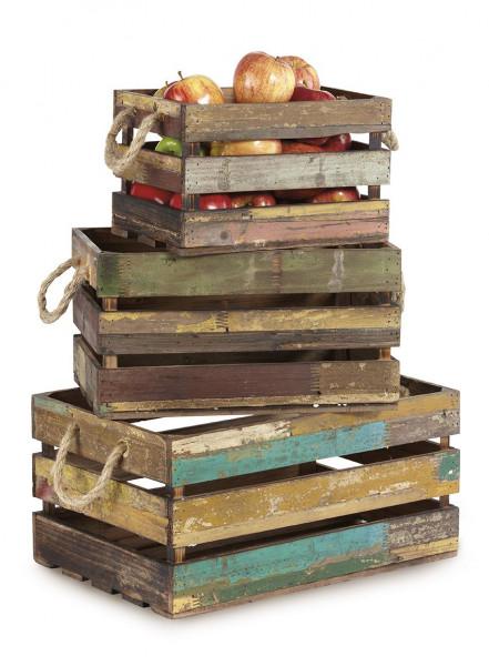 Set aus 3 'Vintage' Holzkisten mit Seilgriffen