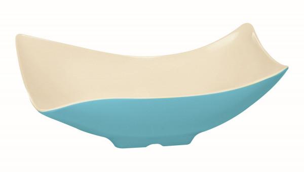 Melamin Schale, offen weiß & blau - 3,8 l