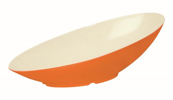 Melamin Schale kaskadenförmig, oval weiß & orange - 1 l