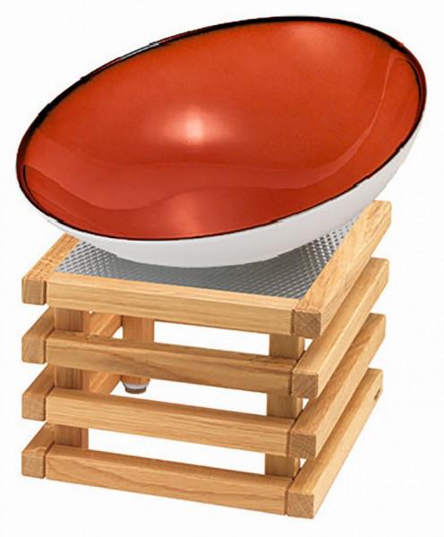 RAISER 'Buffetschale 23x23' rot 2,0 l - L-Standfuß 'Oak'