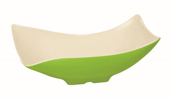 Melamin Schale, offen weiß & grün - 1,8 l