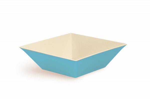 Melamin Schale, quadratisch weiß & blau - 12,1 l