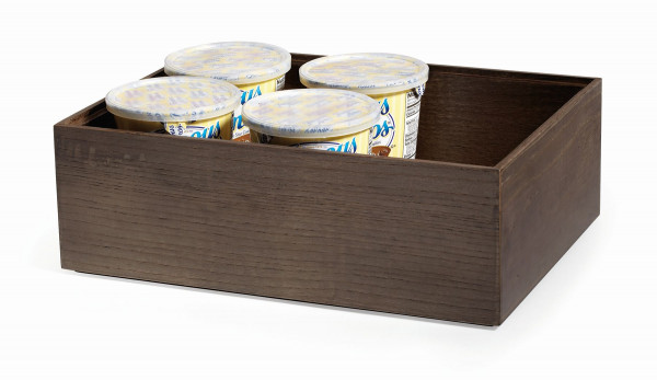 Stapelbare Holzkisten 'Gray Ash' quadratisch - 15 x 15 x 10