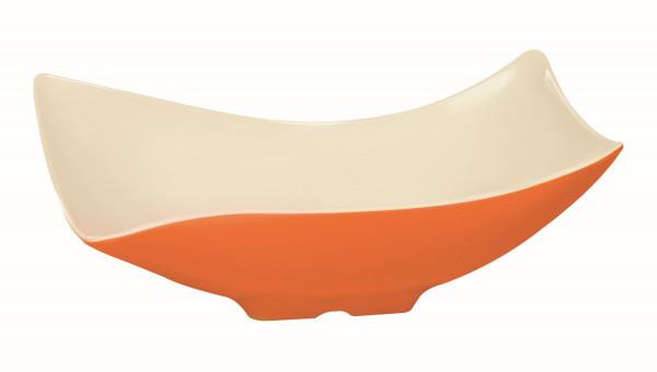 Melamin Schale, offen weiß & orange - 1,8 l