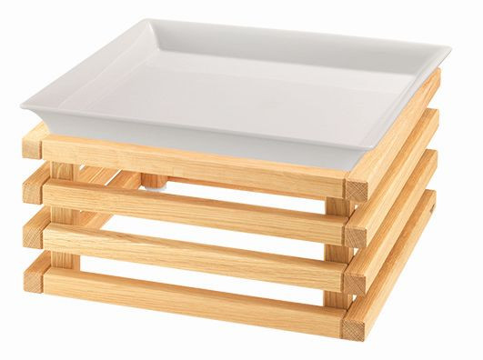 RAISER 'Frischeschale 33x33' weiß 3,5 l - L-Standfuß 'Oak'