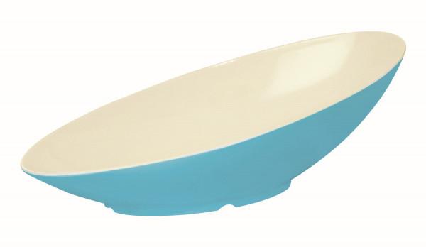 Melamin Schale kaskadenförmig, oval weiß & blau - 1 l