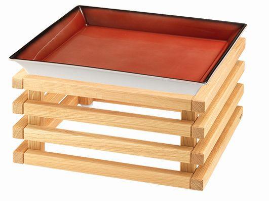 RAISER 'Frischeschale 33x33' rot 3,5 l - L-Standfuß 'Oak'