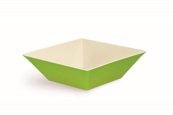 Melamin Schale, quadratisch weiß & grün - 12,1 l