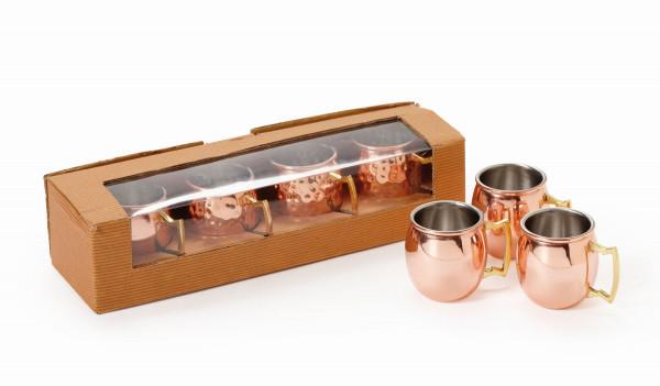 Mini Kupfertasse, gehämmert (4er Set) 59 ml - Ø 4,5 x 5,1 cm