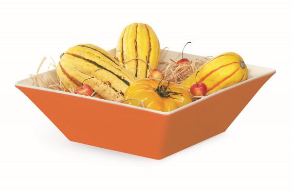 Melamin Schale, quadratisch weiß & orange - 5,4 l