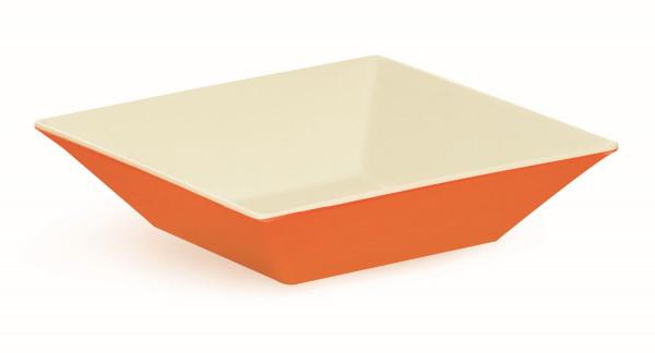 Melamin Schale, quadratisch weiß & orange - 2,4 l