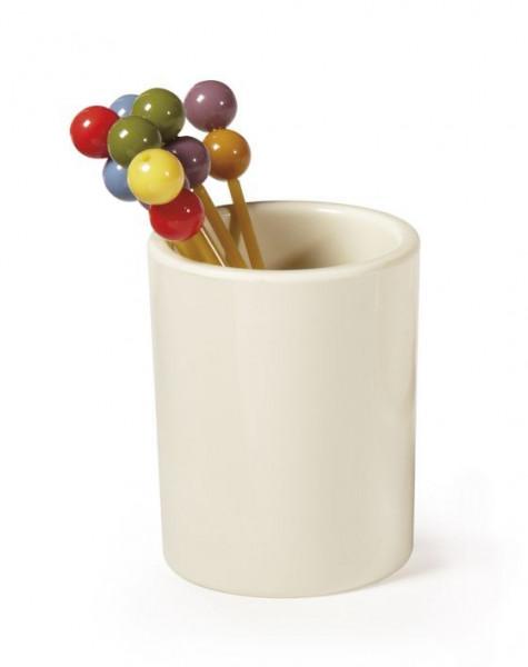Melamin Zahnstocherhalter elfenbeinfarben - Ø 3,8 x 4,5 cm