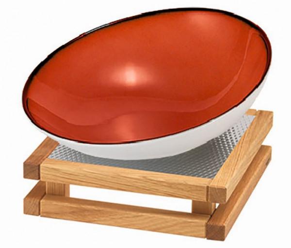 RAISER 'Buffetschale 23x23' rot 2,0 l - S-Standfuß 'Oak'