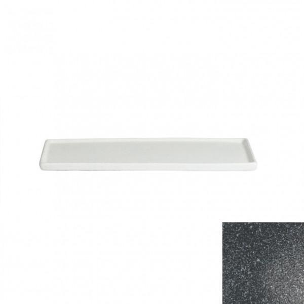 Platte mit Rand, rechteckig granitschwarz - 25,9 x 16 x 1,0